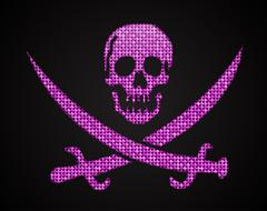 Vector pink sequin skull. Jolly Roger.  Eps 10. - stock illustration