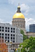 Georgia State Capitol Building Dome from Street Side on Summer Day in Atlanta Stock Photos