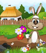 Easter bunny near a farmhouse - stock illustration