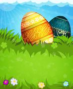 Easter eggs in the grass - stock illustration