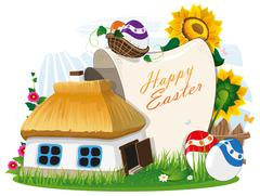 Easter rural background - stock illustration
