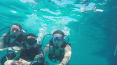 Hurghada, Egypt - February 28, 2016: Diving instructor with students Stock Footage