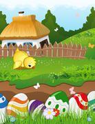 Easter rural landscape - stock illustration