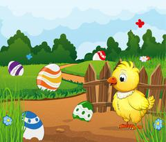 Easter scene background - stock illustration