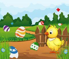 Easter scene background Stock Illustration