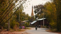 Highway in Myanmar time lapse - natural landscape and Pagoda view Stock Footage