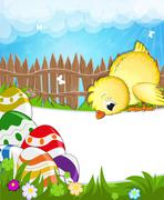 Fluffy chicken in a meadow - stock illustration