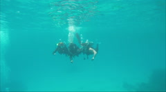 Hurghada, Egypt - February 28, 2016: Instructor of underwater swimming Stock Footage