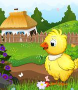 Little chicken on a green meadow Stock Illustration