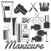 Vector set of manicure tools. Nails manicure. Beauty salon and cosmetics - stock illustration