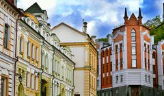 Old houses on the St. Andrew's Descent street in Kyiv Stock Photos