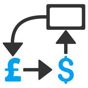 Pound Dollar Flow Chart Flat Vector Icon Symbol Stock Illustration