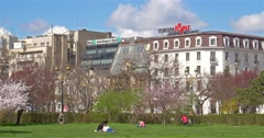 Downtown City View From Union Square Central Park Of Bucharest In Spring Stock Footage