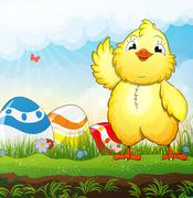 Chicken and easter eggs Stock Illustration