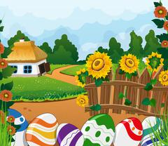 Rural landscape with house and painted Easter eggs - stock illustration
