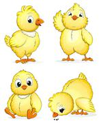 Small fluffy chickens - stock illustration
