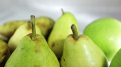 Video overview of green fruits. Fruit Still Life in a white box. Stock Footage