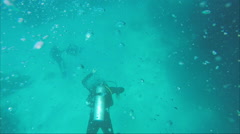 A diver under water, top view - stock footage