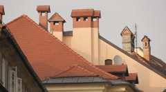 Rooftops in Ljubljana's old city center Stock Footage