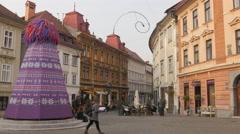 Tourists exploring Gornji and Stari streets in Ljubljana Stock Footage
