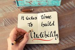 Written text It Takes Time To Build Credibility - stock photo