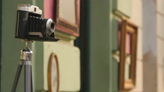 Old photo camera in Ljubljana Stock Footage