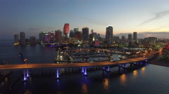 Downtown Miami night aerial approach Stock Footage
