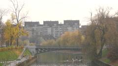 Hradecky Bridge over Ljubljanica in Ljubljana Stock Footage