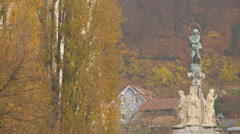 View of Saint Mary's column in Ljubljana - stock footage