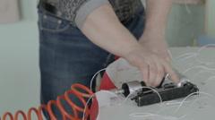 Worker making furniture. Stapler. hauling furniture - stock footage