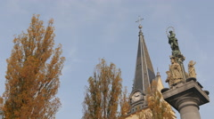Saint Mary's statue and Saint James Church in Ljubljana Stock Footage