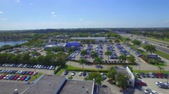Aerial video of a carmax used car dealership - stock footage
