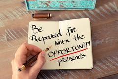 Written text Be Prepared For When The Opportunity Presents - stock photo