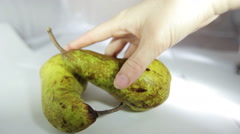A hand puts a pear on the scene. Fruit Still Life in a white box. Stock Footage