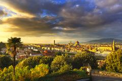Florence or Firenze sunset aerial cityscape.Tuscany, Italy - stock photo