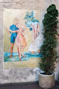 Creative mural on the old wall. Street art Stock Photos