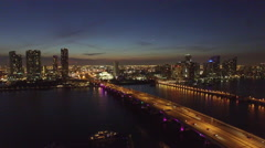 Aerial Downtown Miami and Watson Island descent Stock Footage