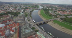 Stock Video Footage of Drone shot of cityscape and Dresden Frauenkirche, Saxony, Germany
