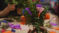 Preparing Easter Paper Flowers, Binding up a Bouquets, Sitting at the Table, Blu Stock Footage