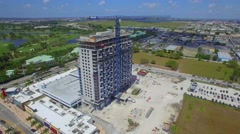 Aerial drone footage of a building under construction in Doral Florida Stock Footage