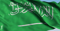 Ultra realistic looping flag: Saudi Arabia - stock footage