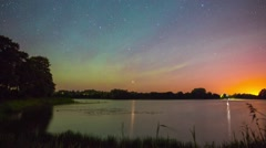 Starry night at the lake - stock footage