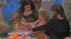 Women Kids Making Paper Flowers Family Master Class Opole Poland Making Easter Stock Footage