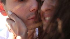 Beautiful bride and groom in love close up. Honeymoon Stock Footage