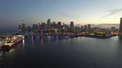 Aerial sped up video Downtown Miami at night Stock Footage