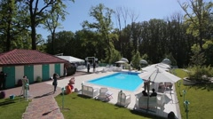 Villa with pool is preparing for the wedding ceremony - stock footage