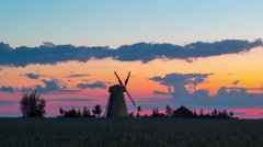 Old windmill at sunset, Belarus Stock Footage