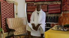 portrait of an artisan in douz, tunisia - stock footage