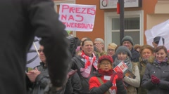 Applauding People Democracy Committee's Rally Opole Poland Meeting Against Stock Footage