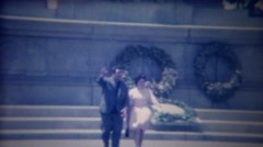1963: Italian couple street lady dress blows up like Marilyn Monroe. Stock Footage